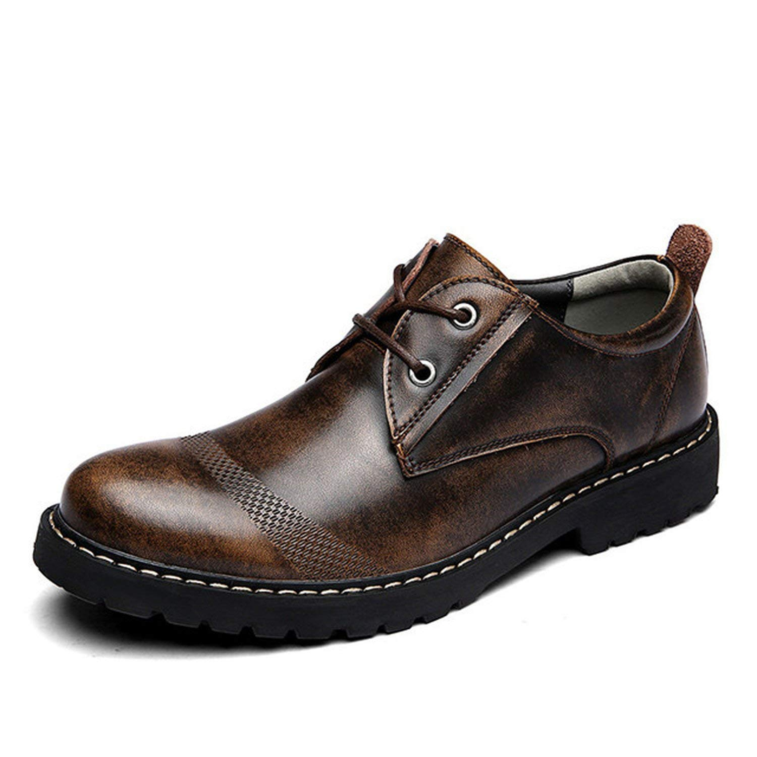 Brown Oxfords ALWAYS ME Men Genuine Leather shoes Business Wedding Brogue shoes Lace Up Soft Male Footwear