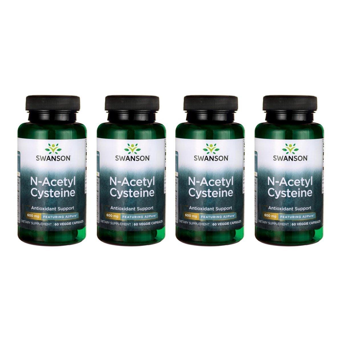 Swanson N-Acetyl L-Cysteine - Featuring Ajipure 600 mg 60 Veg Caps 4 Pack