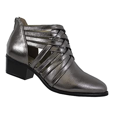 Womens Ankle High Metallic Classic Caged Zipper Back Chunky Heel Pointy Toe Transitional Booties Paladino-114 Open Boot Shoes