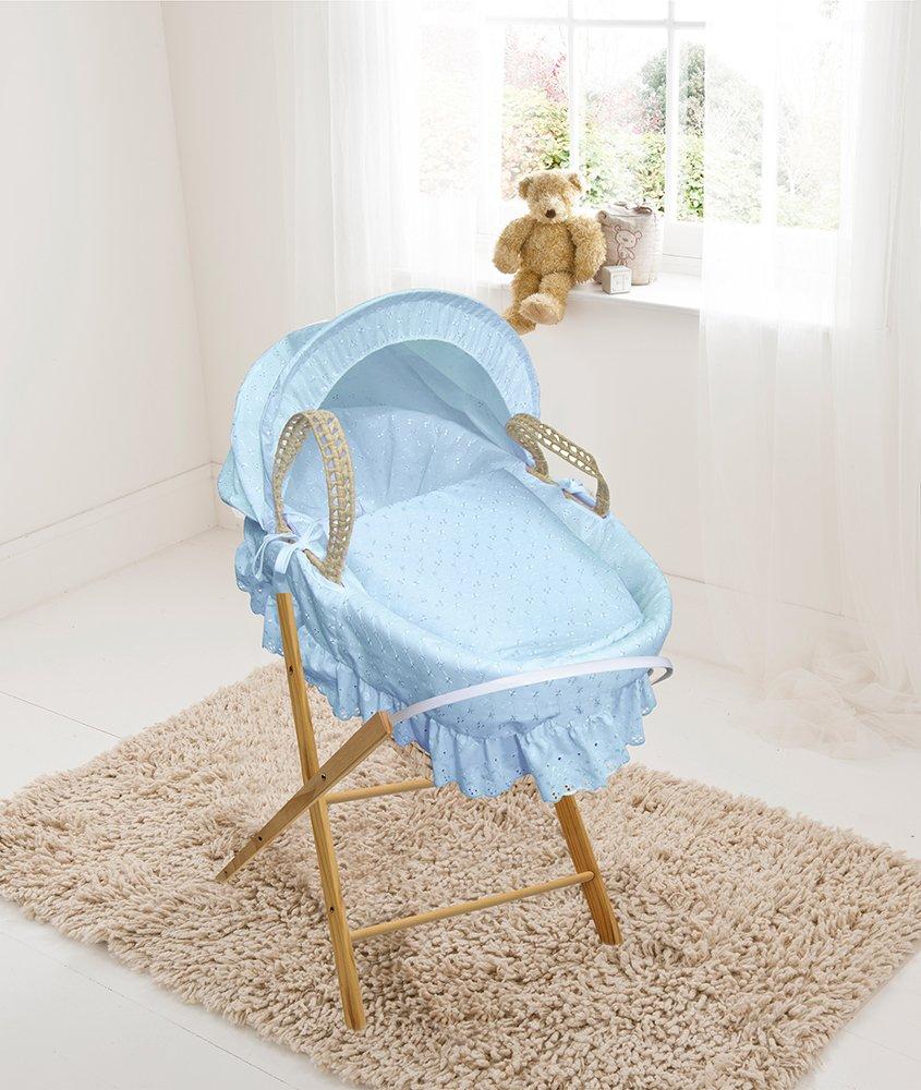 Blu pizzo sangallo, culla in legno di palma e supporto pieghevole Elegant Baby