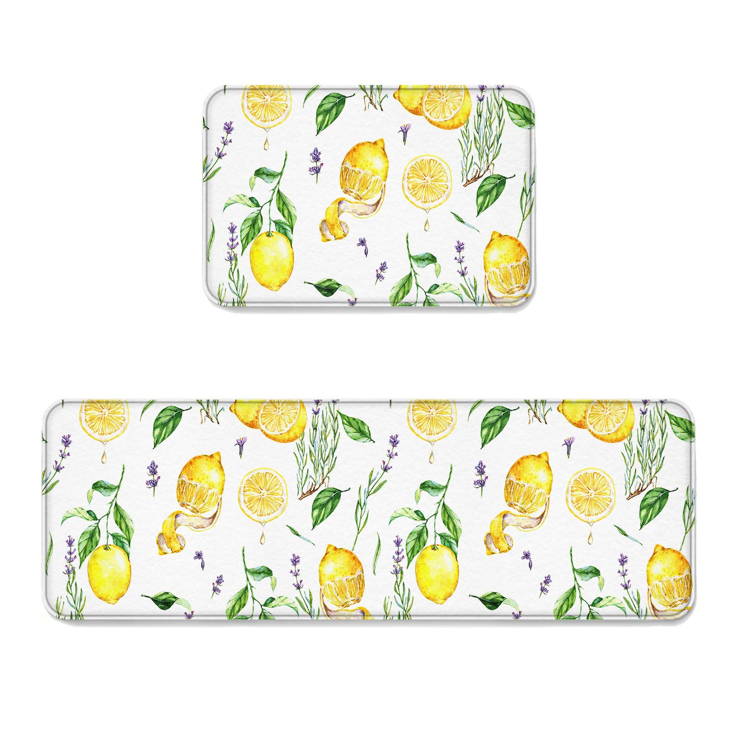 2 Piece Non-Slip Kitchen Mat Runner Exotic Lemon Tree Branches Floral