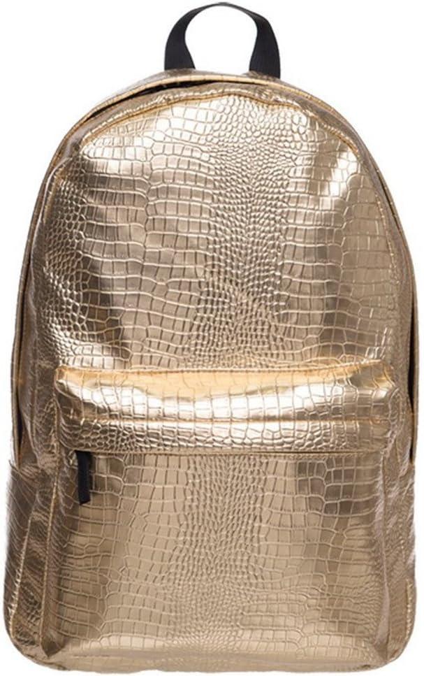 Bagsmall Leather Backpack Women Hologram Laptop Backpack For School Laser Silver Color Holographic Bag backpacks (gold)