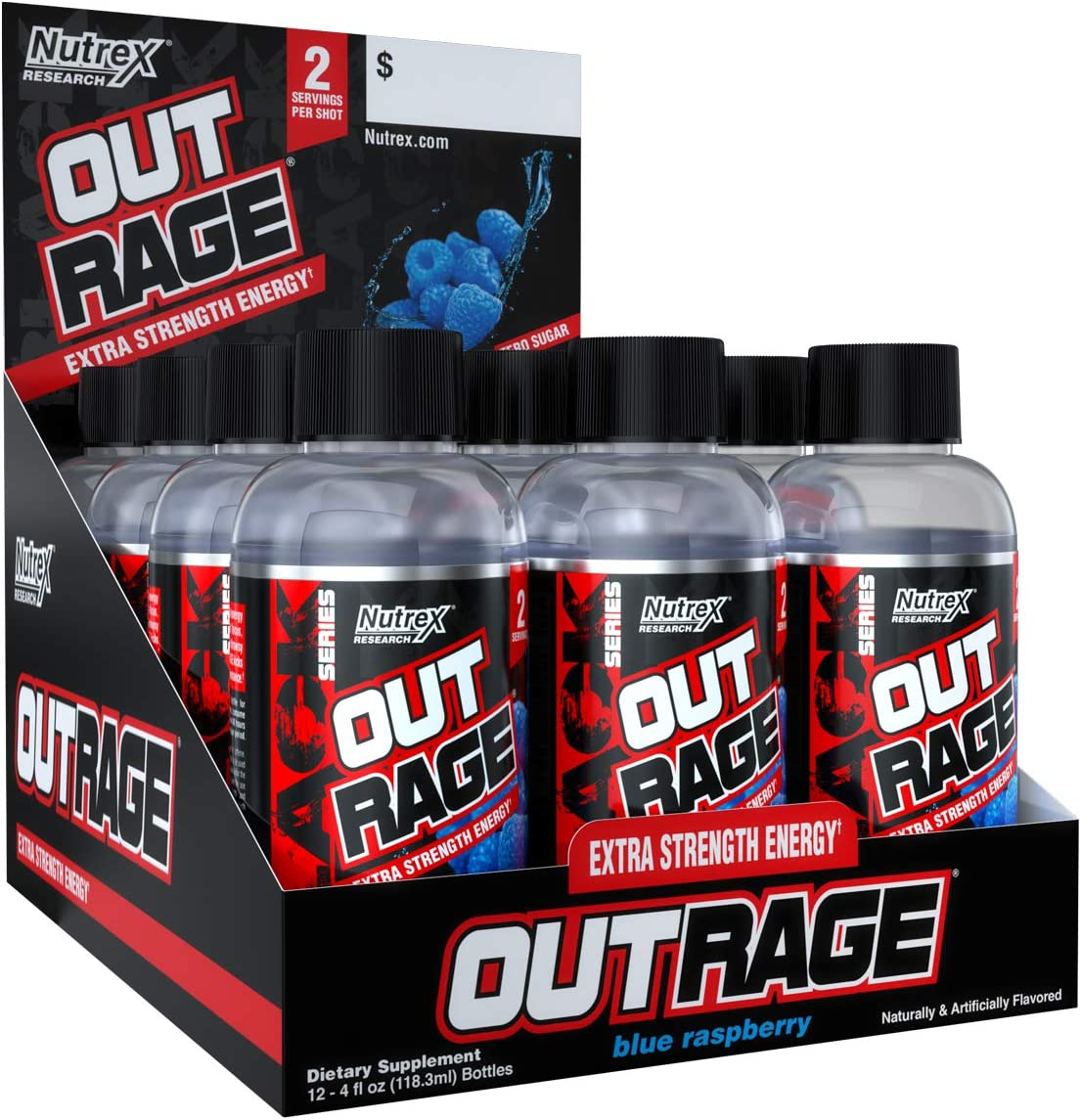 Nutrex Outrage Energy Shot, Blue Raspberry, 12 Count