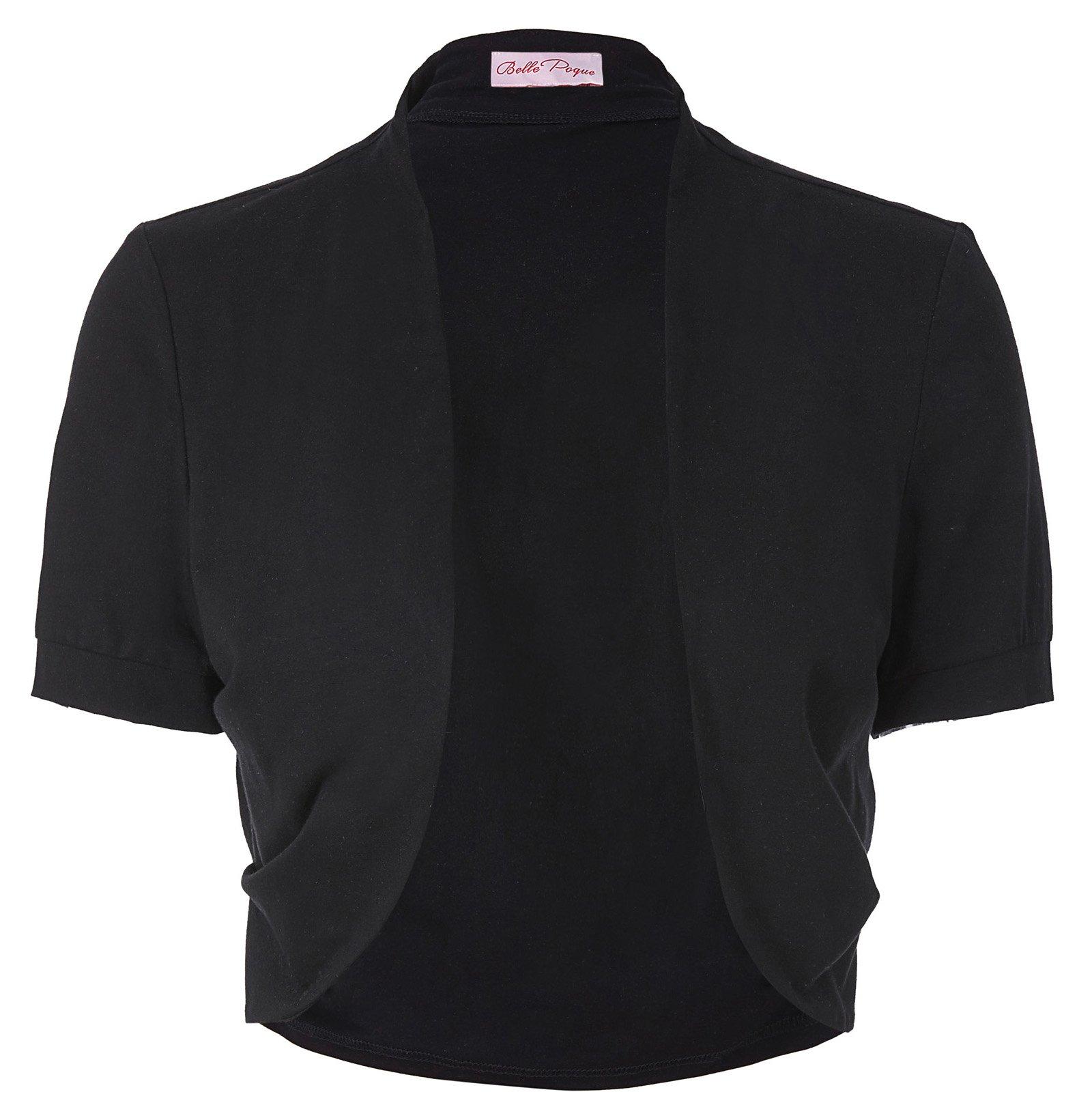 Basic Cotton Pleated Sides Bolero Shrug for Women (L,Black) by Belle Poque