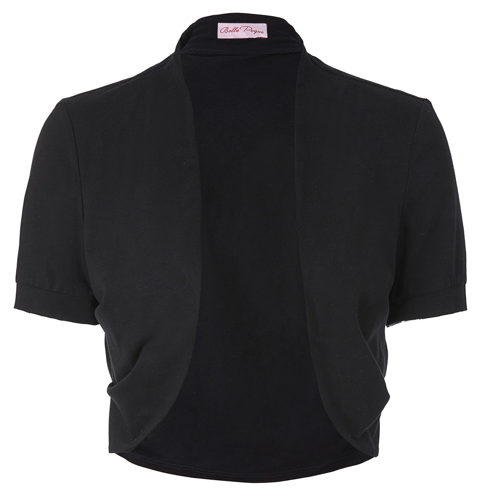 Basic Cotton Pleated Sides Bolero Shrug for Women (L, Black 215-1)