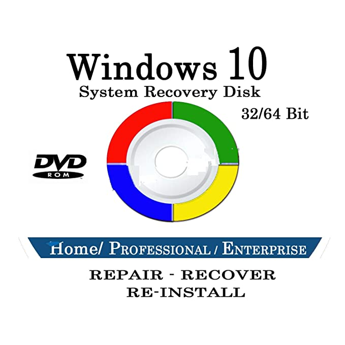 Windows 10 Repair & Recovery Disk Pro & Home 32 & 64 Bit DVD Recover  Reinstall Reboot Fix ALL Computer Brands HP, Dell, Asus etc  [Instructions  &