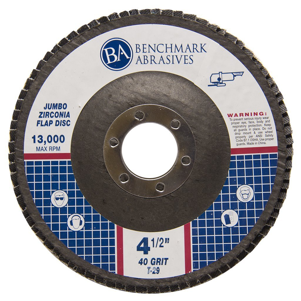 4.5'' x 7/8'' Premium High Density Jumbo Zirconia Type 29 Flap Disc 40 Grit - 10 Pack by Benchmark Abrasives (Image #4)