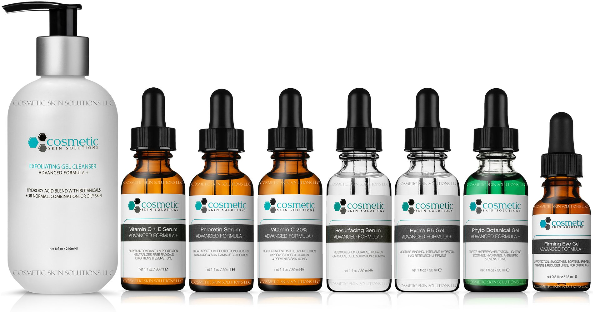 8 Combo Pack Includes EXCLUSIVE SET - Cleanser, Vitamin C+E, Phloretin, C 20%, Resurface, Phyto, B5, Eye, Advanced Formula, ULTIMATE ANTI-AGING ANTIOXIDANTS, 100% Safe & Effective, No Parabens or Oils