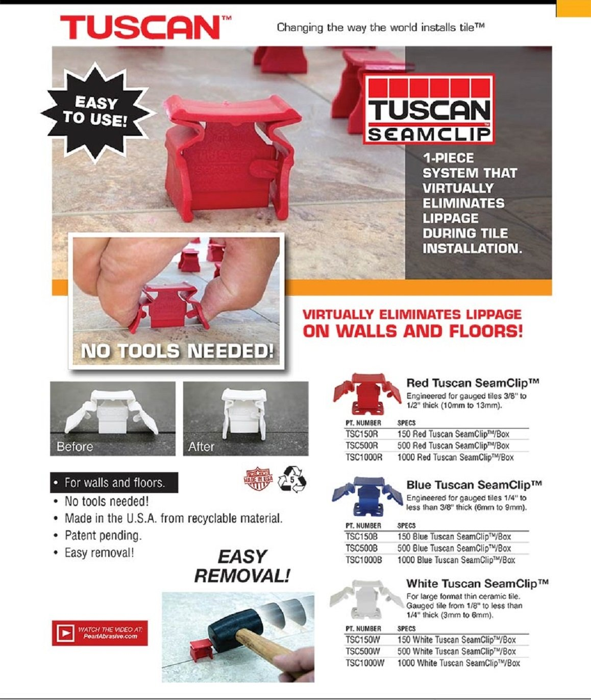 Tuscan Seamclip Red 500 pc Box #TSC500R For Tile 3/8'' but less than 1/2'' thick