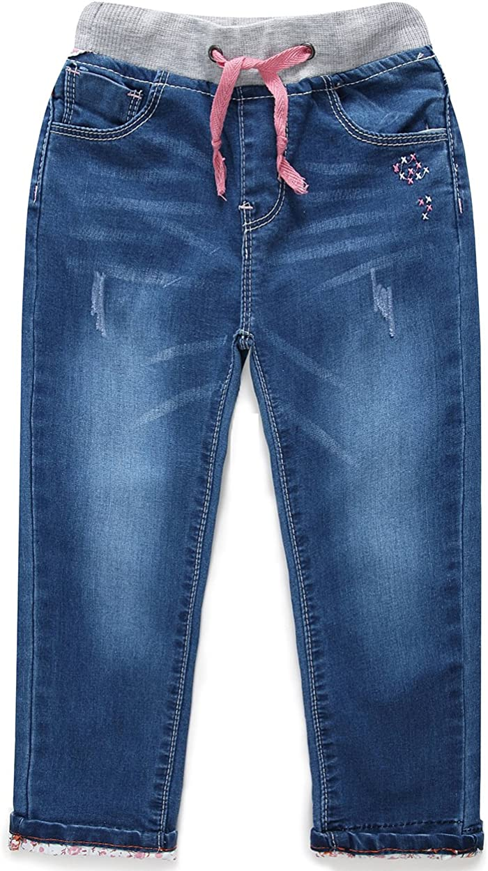 ROOVIRIDAR Little Girls Casual Drawstring Waistband Blue Denim Jeans 1116 Dark Blue