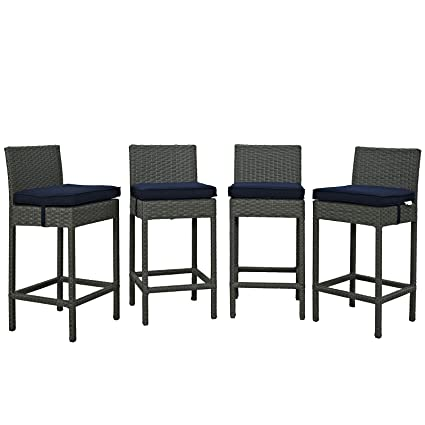 Charmant Modway Sojourn 4 Piece Outdoor Patio Bar Stools Pub Set With Sunbrella  Brand Navy Canvas Cushions