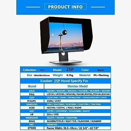Ilooker 25p 25 Zentimeter Lcd Led Video Monitor Hood Sonnenschutz Sunhood Für Dell Hp Viewsonic Philips Samsung Lg Eizo Nec Asus Acer Benq Aoc Lenovo Imac Passt Monitor Rahmen Breite 565 580 Mm