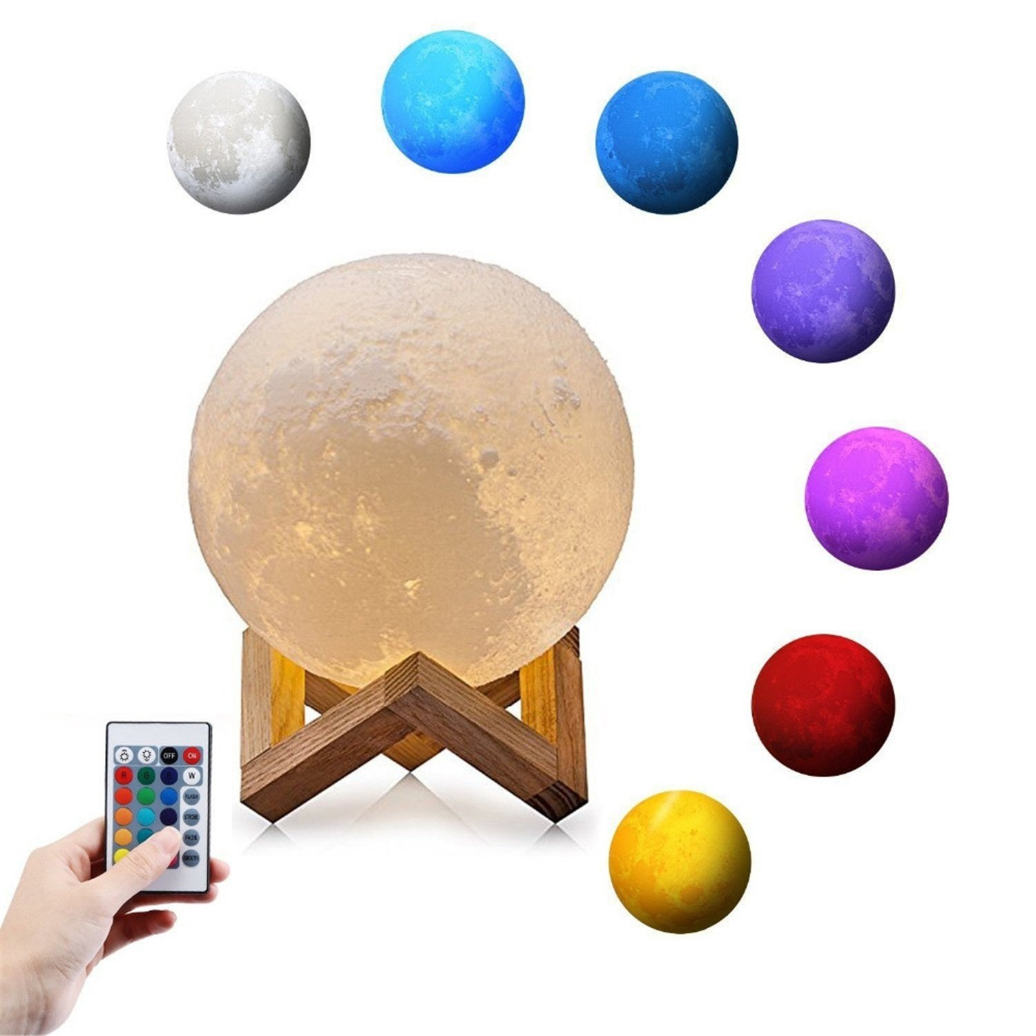 Yaojiaju 15cm 3D Print Moon Lamp, Warm and Cool Lighting Rechargeable Home Decorative Night Light with Wood Stand