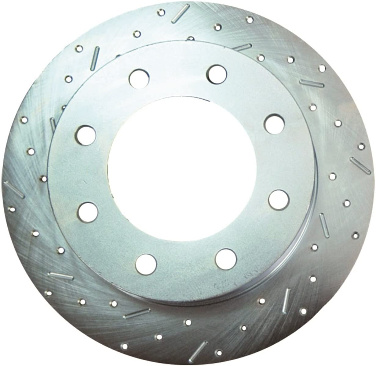 SSBC 23433AA3L Drilled Slotted Plated Front Driver Side Rotor for 1988-91 Chevy 1 Ton 4WD DRW