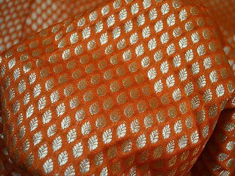 Funda de cojín de tela de color naranja con brocado para ...