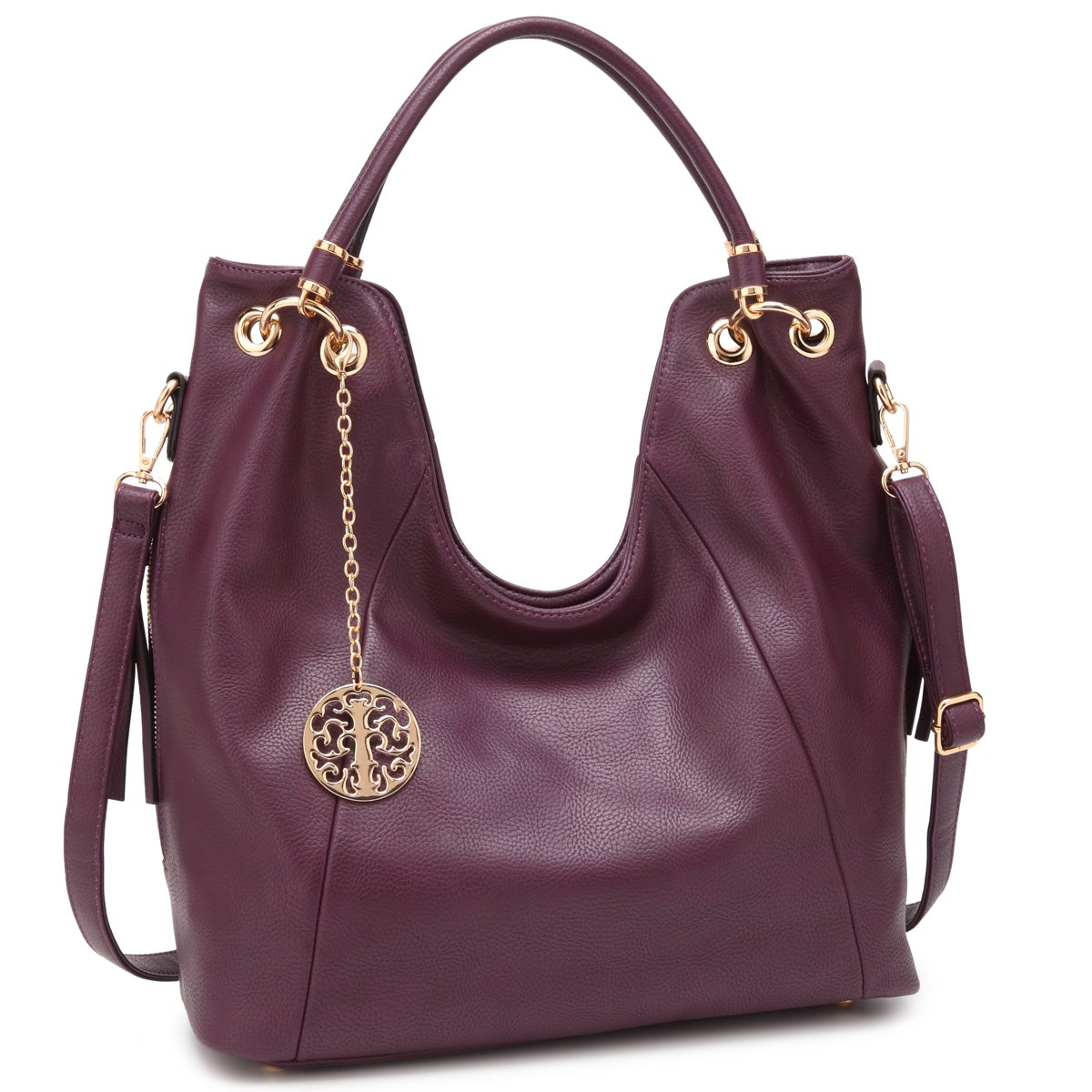 Shoulder Hobo Bag Top Zip Purse Fashion Vegan Handbag w/Long Strap Side Zipper Pockets Purple