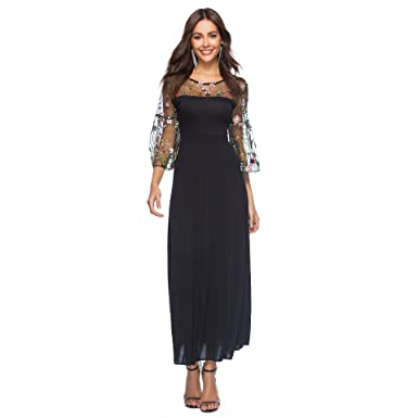 6a204728c40e BaronHong Women's Sheer Mesh Floral Embroidery Party Maxi Dress with Pagoda  Sleeves(Black,S
