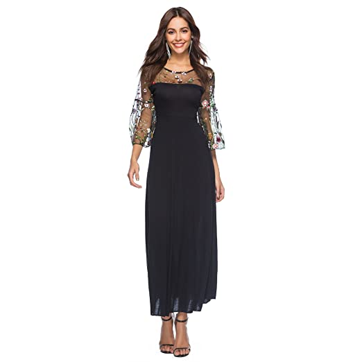 Baronhong Womens Sheer Mesh Floral Embroidery Party Maxi Dress With