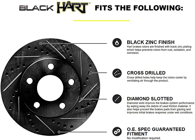 Fits 1989 Honda Accord Rear Black Drill Slot Brake Rotors Ceramic Brake Pads