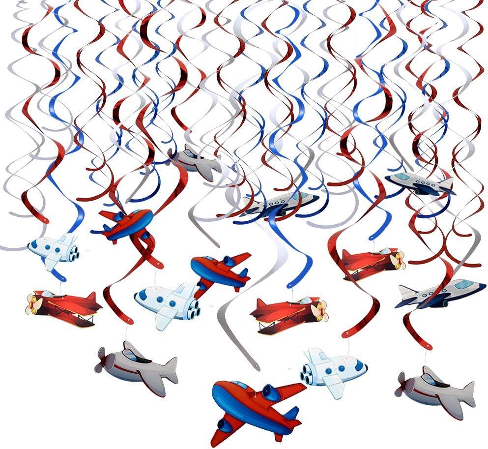 Howaf 30Piezas Avión Colgando remolinos Guirnalda de Techo serpentinas para Bebés Infantiles Niños Cumpleaños Fiesta Decoración Suministros