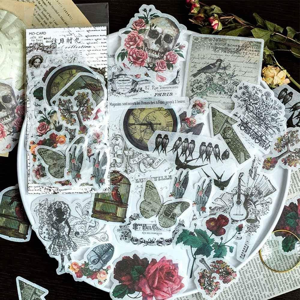 60pcs Laptop Stickers Scrapbook Stickers, Doraking DIY Decorative Plants Set Stickers for Laptop, Envelopes, Scrapbook, Notebooks, Luggage, Windows, Glasses 20 Pictures, Friendly to Kids(Old Times)