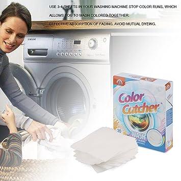 Abedoe 20 hojas de colores para la colada en lavadora, protege la ...