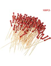 SimpleLife Cóctel Hecho a Mano Elegir 100pcs Cuentas de bambú Selecciones de cócteles Palitos de Comida Desechables Fiestas de Palillos - Granos Rojos