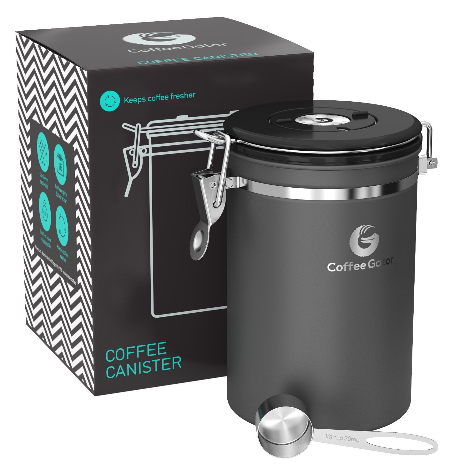Coffee Gator Stainless Steel Container - Canister with co2 Valve and Scoop - Large, Grey