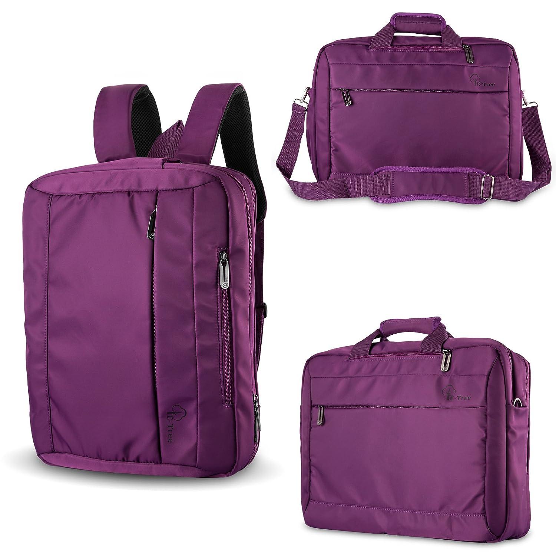 E-Tree Convertible Backpack, 15-15.6 Inch Laptop Messenger Bag, Briefcase, Shook proof Shoulder Bag, Multi-Functional Computer Bag Multi-Compartment Gym Handbag with Luggage Belt Design for Men and Women (3 in 1)-Purple