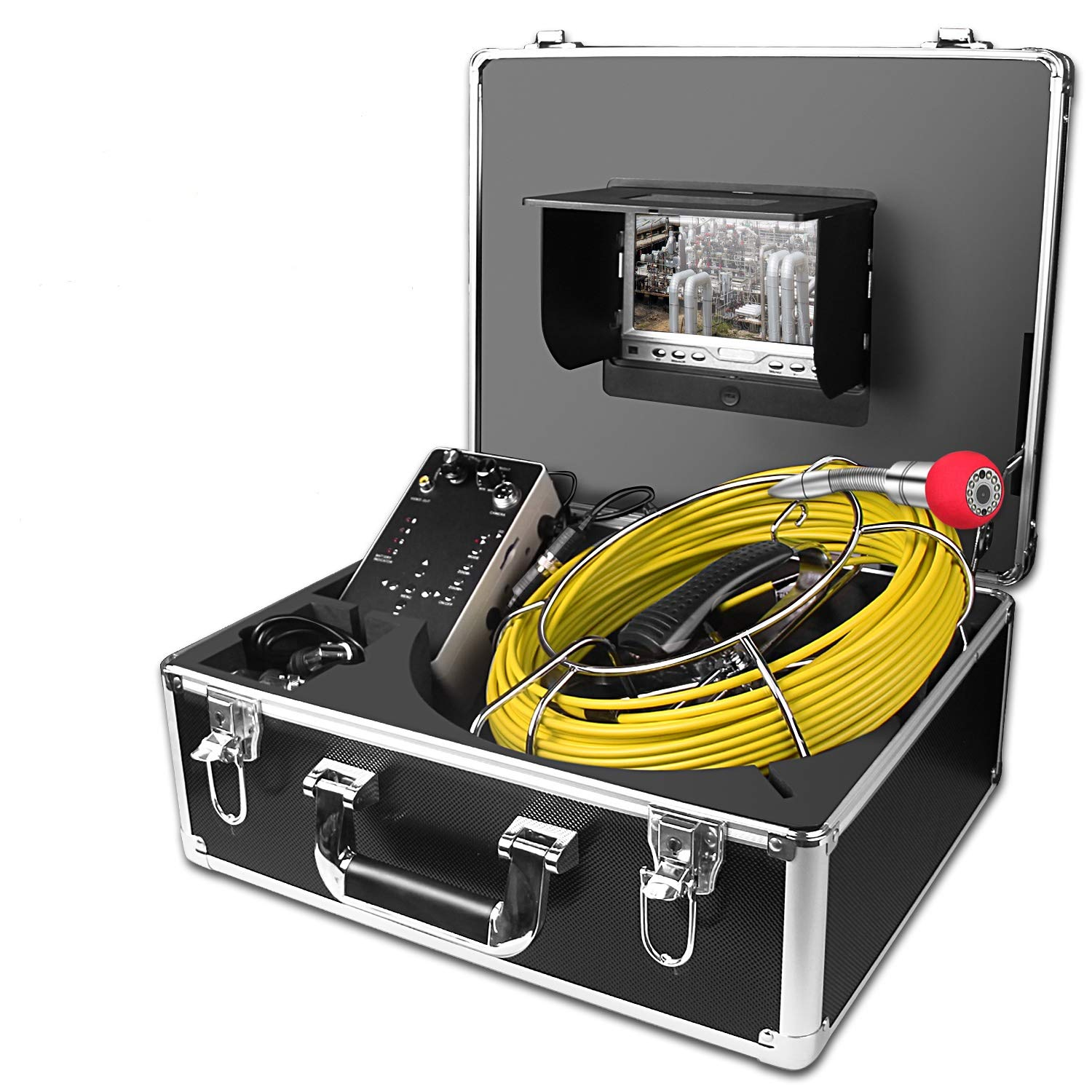 Sewer Camera,Anysun 50m/164ft Drain Pipe Inspection Cameras-Snake Cam Video Inspection Camera With 7 Inches LCD Monitor and Locator(Include 8GB SD Card)