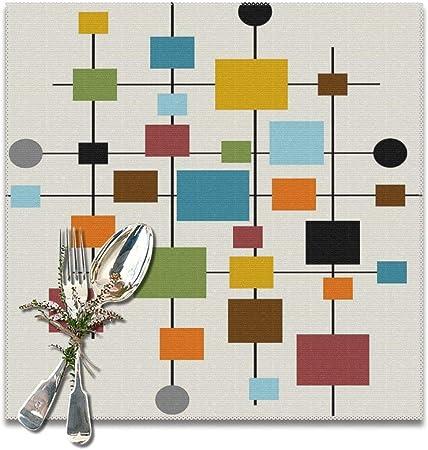 Lilyo-ltd Mid Century Manteles Individuales de Arte Moderno para Mesa de Comedor, Juego de 6 manteles Individuales Lavables, 12 x 12 Pulgadas: Amazon.es: Hogar