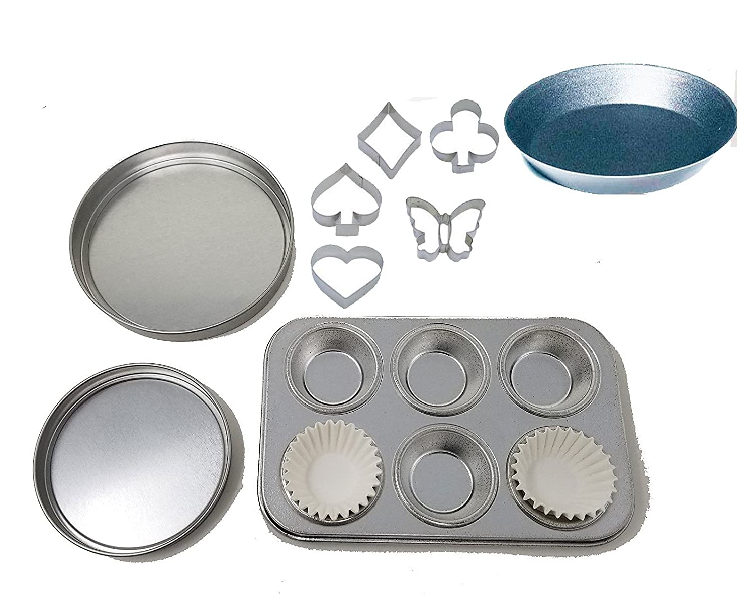 Easy Bake Oven Pan Set Replacement Pans Cupcake Muffin Pan, Pie Pan,and Mini Cookie Cutters