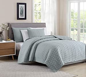 Bourina Quilt Coverlet Set Embroidery Bedspread 3-Piece Quilt Set Microfiber Lightweight, Oversized Queen 104
