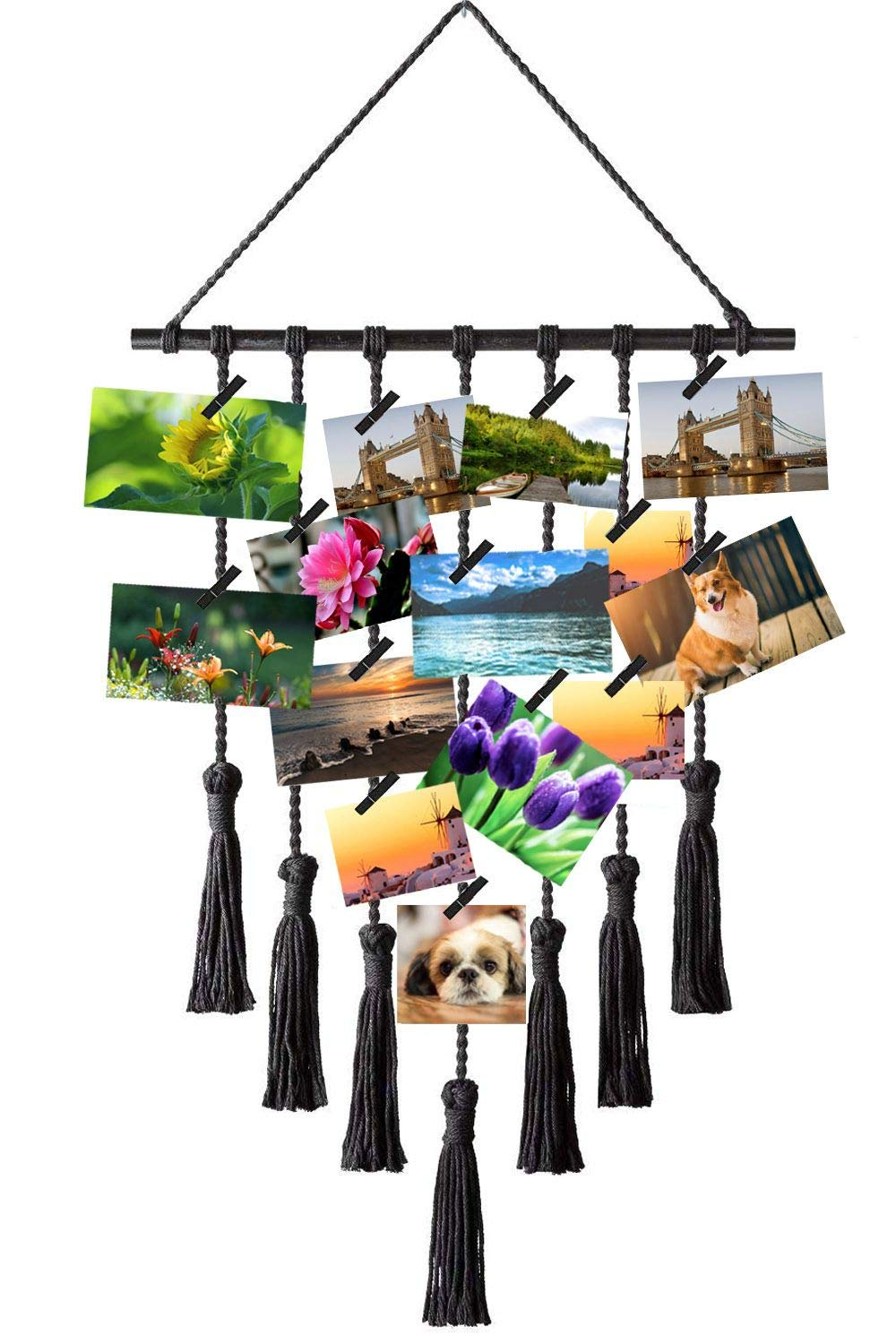 Hanging Photo Display Macrame, Wall Hanging Pictures Organizer, Picture Frame Decor with 20~25 Wood Clips-Black by EZVING