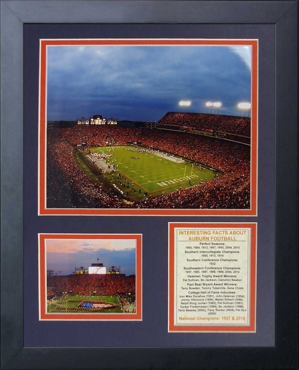 Legends Never Die Auburn University Tigers Jordan-Hare Stadium Framed Photo Collage, 11 by 14-Inch 12050U