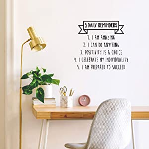 """Vinyl Wall Art Decal - 5 Daily Reminders - 22"""" x 24.5"""" - Motivational Modern Banner Home Bedroom Apartment Office Quote - Trendy Positive Workplace Living Room Business Decor (26"""" x 22.5"""", Black)"""