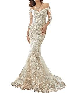 d13dfcb979 Lily Wedding Women s Off Shoulder Long Sleeve Wedding Dress 2018 Bridal Gown  Floor Length FWD002
