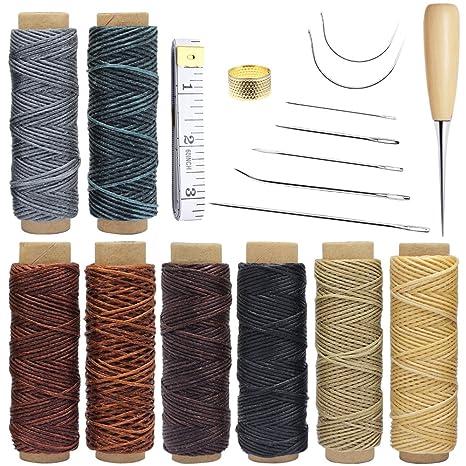 Homgaty - 18 piezas de herramientas de cuero para manualidades con agujas de coser a mano