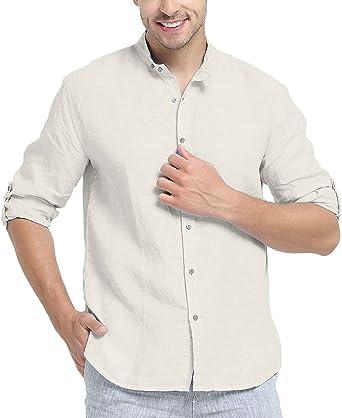 Najia Symbol Camisa de 100% Lino Tela Hombre Manga Larga Cuello Mao (Gris, XL): Amazon.es: Ropa y accesorios