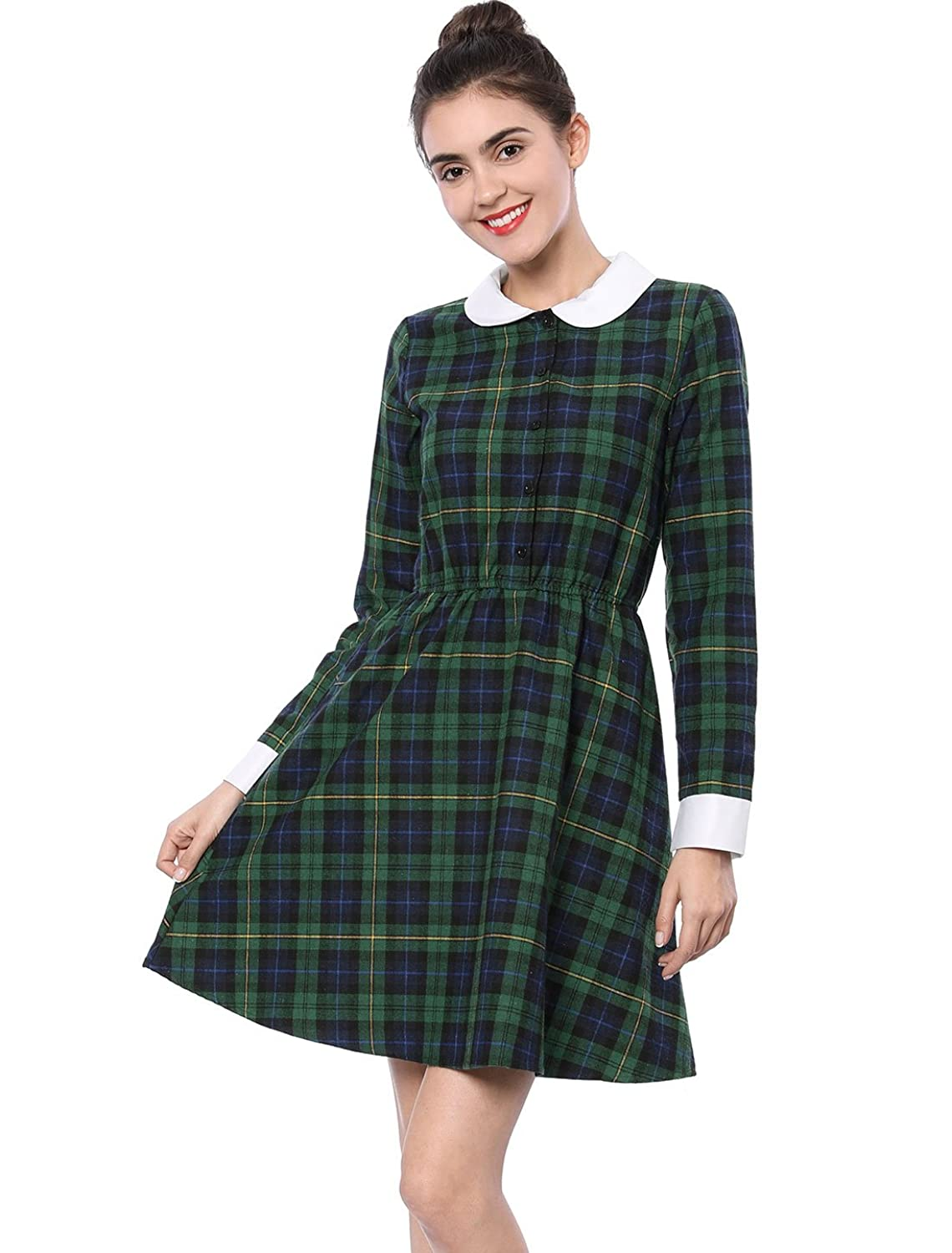 Allegra K Women's Contrast Peter Pan Collar Plaid Check A Line Dress:  Amazon.co.uk: Clothing