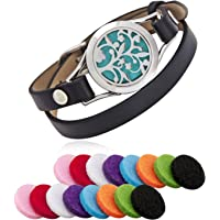 Aroma Essential Oil Diffuser Bracelet, LURICO Stainless Steel Aromatherapy Locket Bracelets with 16 Color Pads, Adjustable Leather Band with Jewelry Gift Box-Black