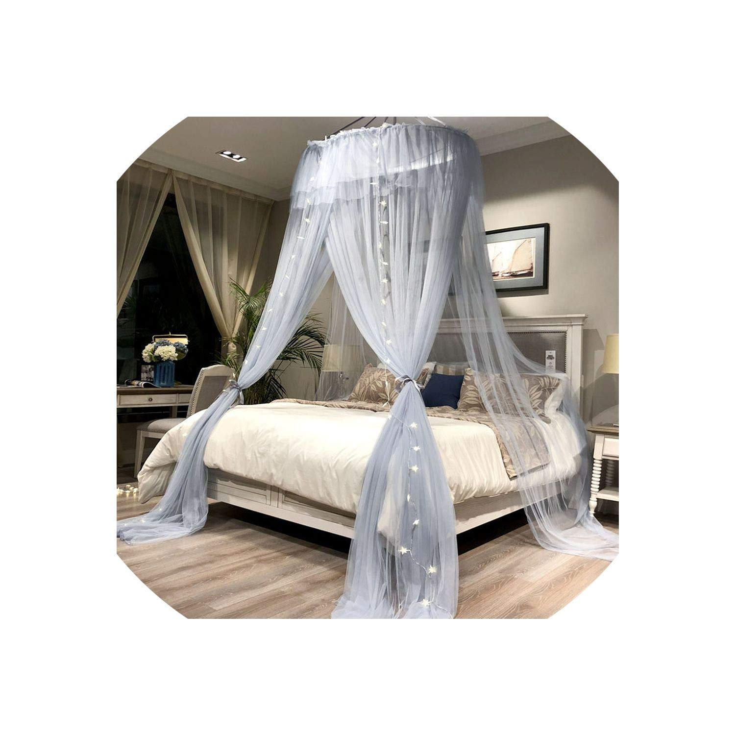 Round Hung Dome Mosquito Net Fine Mesh Mosquito Nets for Double Bed Mosquito Netting for Baby Bed Net Tent Bedroom Decor,Gray with Lamp,1.8M (6 Feet) Bed