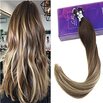 Laavoo 16 Inches Dark Brown Balayage Medium Brown Ombre Light Blonde Nano Tip Extensions 1g 50s Micro Nano Beads For Hair Extensions Human Hair