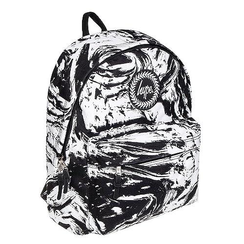 Hype Mochila Escolar Jaspeada con Manchas de Pintura en Blanco y Negro: Amazon.es: Zapatos y complementos