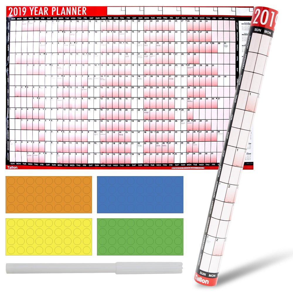 Anno 2019A1Dimensioni laminato calendario planner da parete con adesivo asciugare penna & puntini, perfetto per pianificazione speciale & eventi importanti con adesivi colorati Avant-Garde