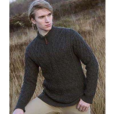 100% Irish Merino Wool Half Zip Aran Sweater