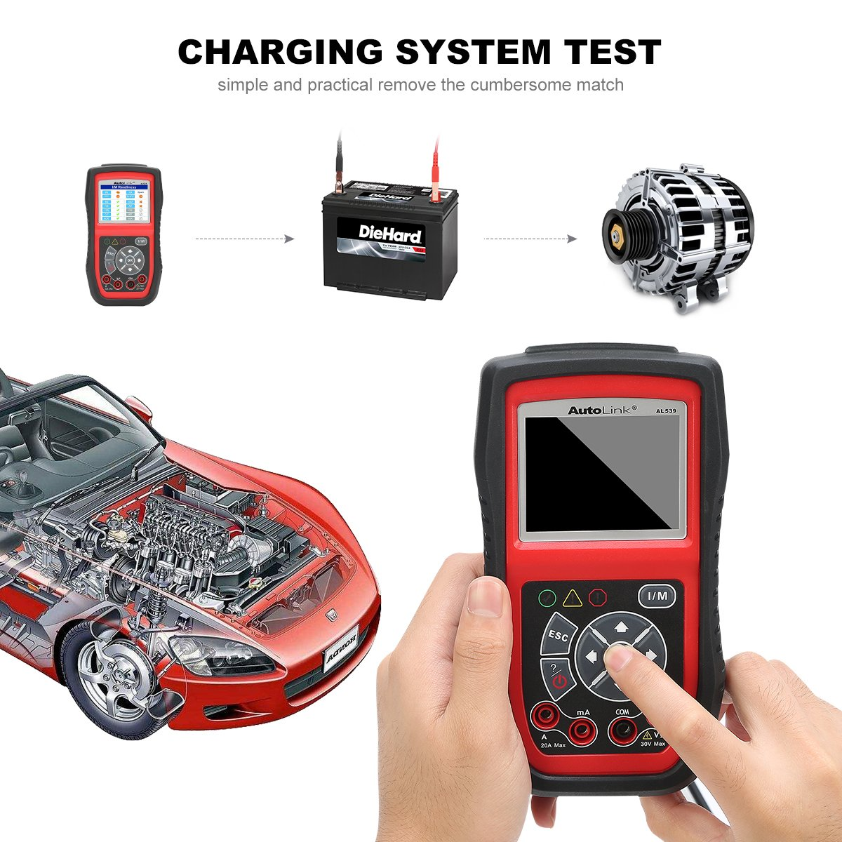 Autel AL539B Battery Tester OBD2 Code Reader OBDII Scanner Professional Electrical Test Tool Avometer by Autel (Image #3)