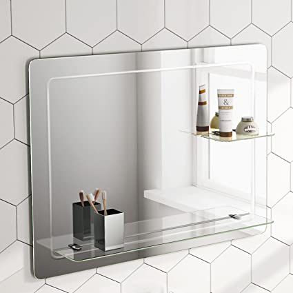 800 X 600 Mm Designer Bathroom Wall Mirror Glass Shelves Mc151