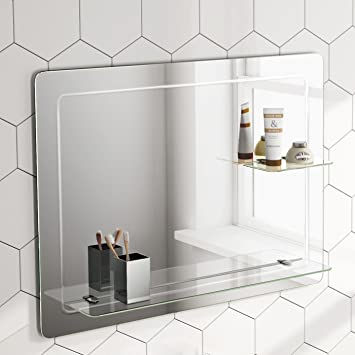 Bathroom Mirror With Shelf | 800 X 600 Mm Designer Bathroom Wall Mirror Glass Shelves Mc151