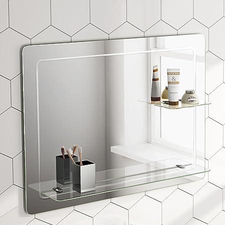 800 x 600 mm Designer Bathroom Wall Mirror + Glass Shelves MC151 ...